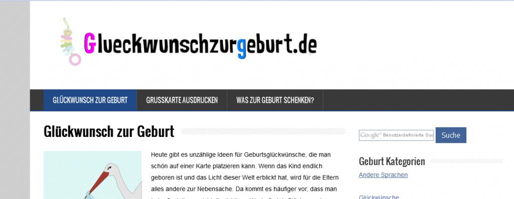 screenshot der seite glueckwunschzurgeburt.de